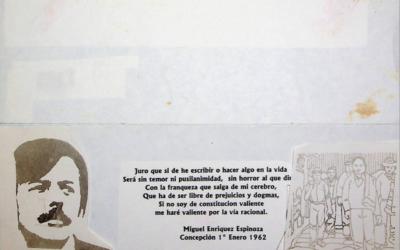 Maquetas de invitación para presentación de libro en honor de Miguel Enríquez