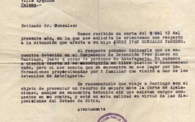 Carta a Luis González Vega, representante de la familia de Jorge González Paredes