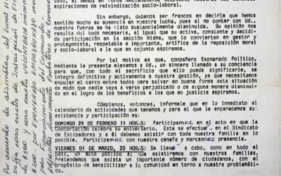 Carta dirigida a exonerado político
