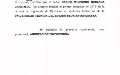 Constancia que certifica que Danilo Quezada fue alumno regular de Ingenería en Ejecución de la Universidad Técnica del Estado