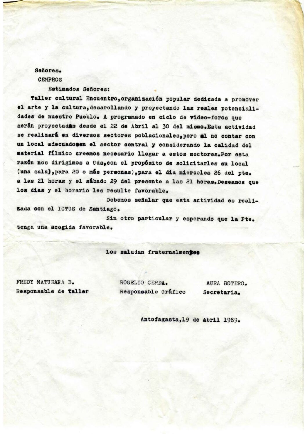Carta a CEMPROS