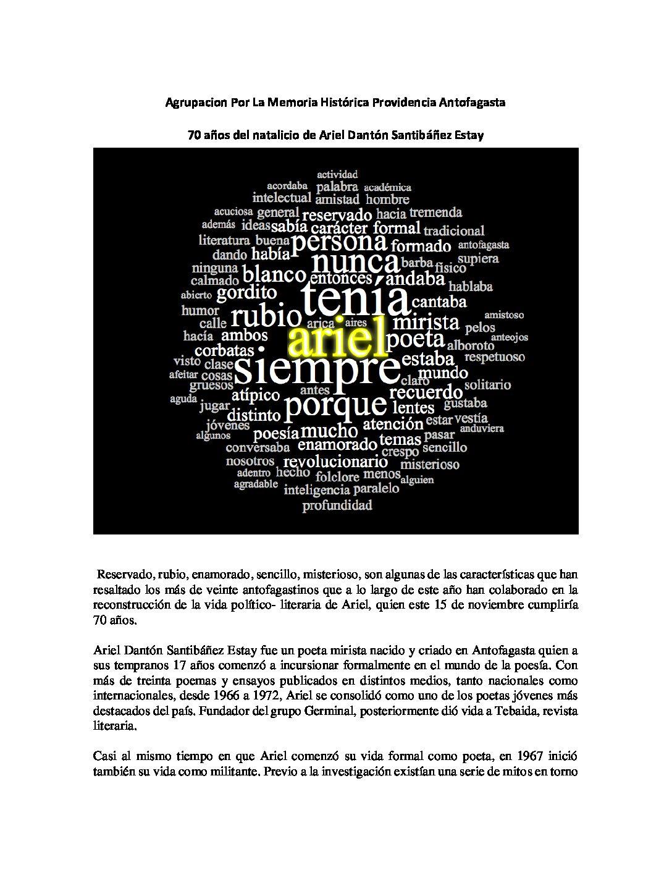 70 años del natalicio de Ariel Danton Santibañez Estay