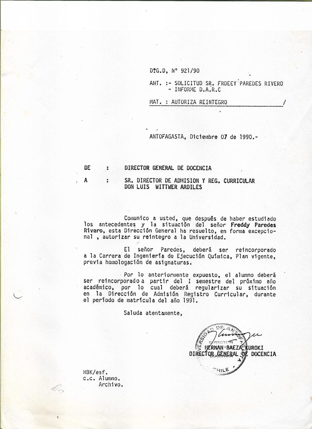 Certificado de reincorporación de Freddy Paredes Rivero
