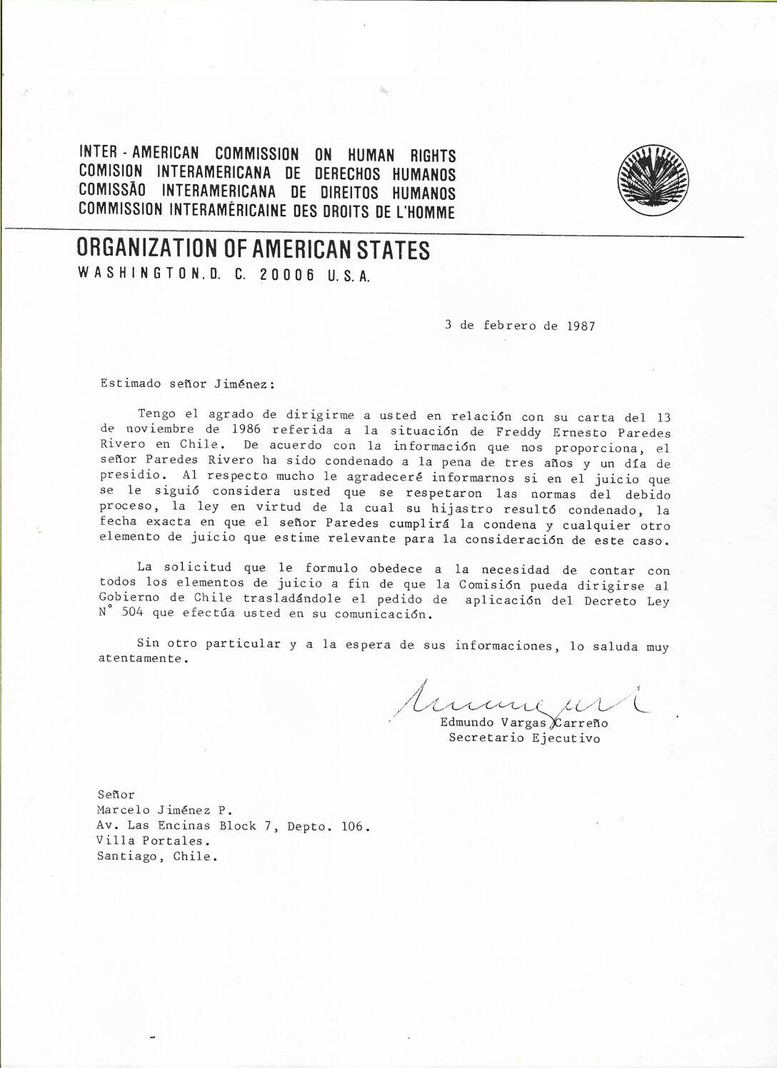 Carta a Marcelo Jímenez extendida por la Comisión Interamericana de Derechos Humanos