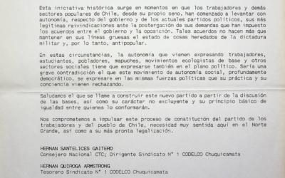 Lista de adherentes de las regiones I y II al documento «Por un Chile para todos» y al llamado a constituir el partido de los trabajadores de Chile.