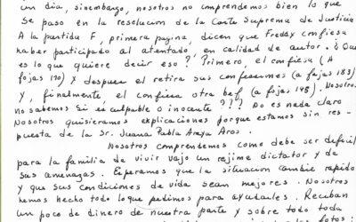Carta a Gladys acusando recibo de información sobre la condena de Freddy Paredes