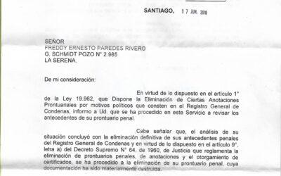 Carta a Freddy Paredes sobre la eliminación de su prontuario penal