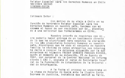 Carta a Fernando Volio, relator especial para los Derechos Humanos en Chile de la Organización de las Naciones Unidas (ONU)