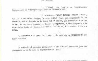 Certificado de Gendarmería sobre el cumplimiento de la condena de Freddy Paredes