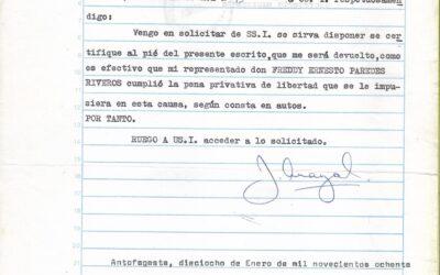 Certificación de cumplimiento de condena de Freddy Paredes