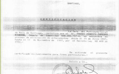 Certificado de gendarmería del proceso de eliminación de antecedentes de Freddy Paredes