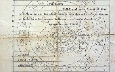 Certificado de absolución de Elmo Funes Carrizo