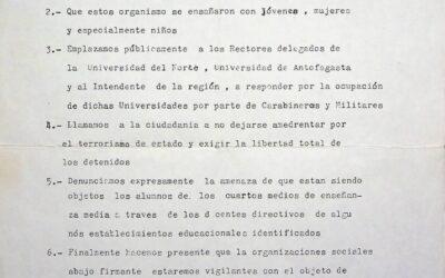 Declaración pública contra la ocupación de carabineros y militares UCN