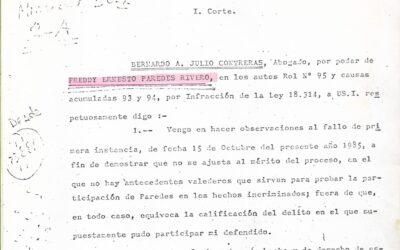 Observaciones al fallo de la Corte de Apelaciones de Antofagasta en contra de Freddy Paredes